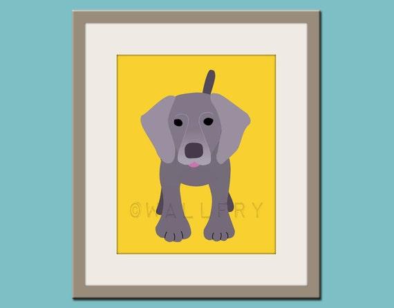 Baby nursery art print. Wall art for children, kid's wall art. Puppy dog print nursery decor. Weimaraner Dog print by WallFry