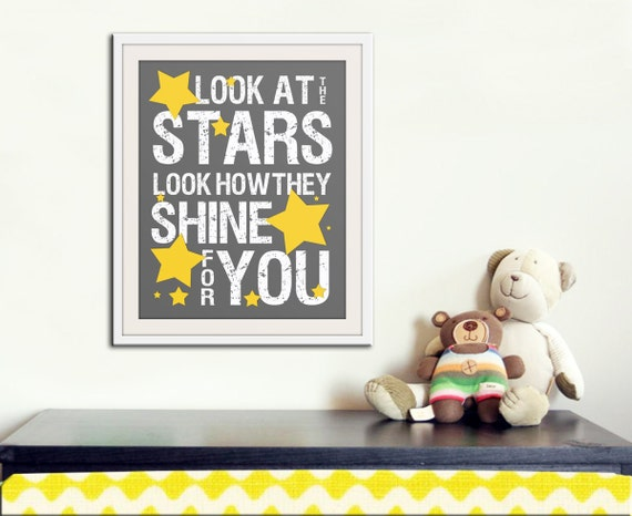 Nursery decor, baby nursery art. Nursery wall quote, inspirational typography print. grey yellow look at the stars. Print by Wallfry