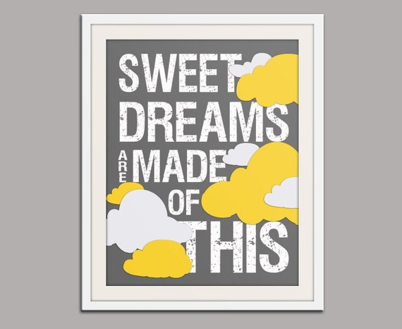 Baby nursery decor. Sweet Dreams print nursery art print. Kids room decor. Inspirational wall art. Song lyric. Art print by WallFry