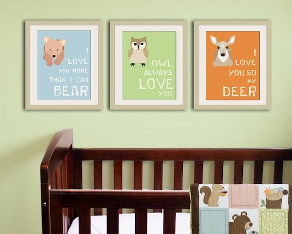 Woodland nursery decor. Forest animal kids wall art. Typography owl nursery art print. Child decor. SET OF 3 prints by WallFry