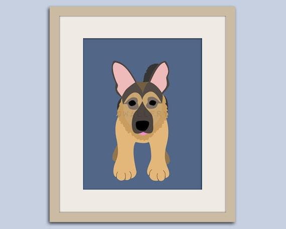 German Shepherd dog art print. Puppy dog themed nursery art for kids. Children dog art from painting. Art print by WallFry