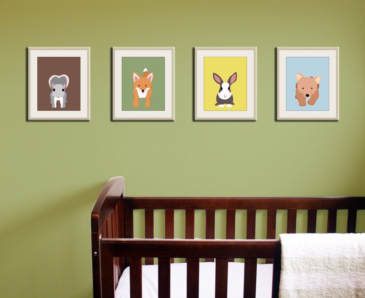 Woodland nursery art. nursery prints of forest critters SET OF