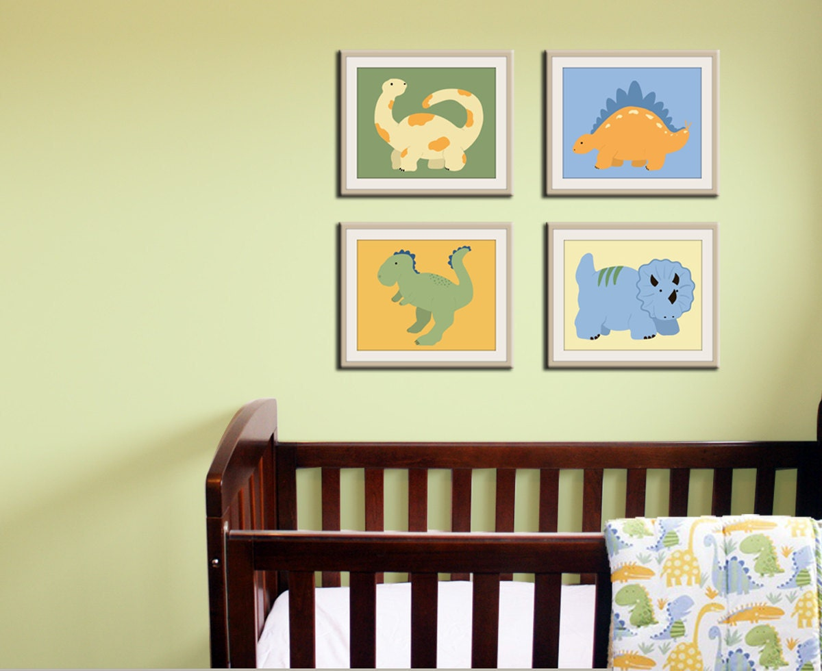 baby boy professional picture ideas - Dinosaur Prints baby nursery art 11x14 modern prints by