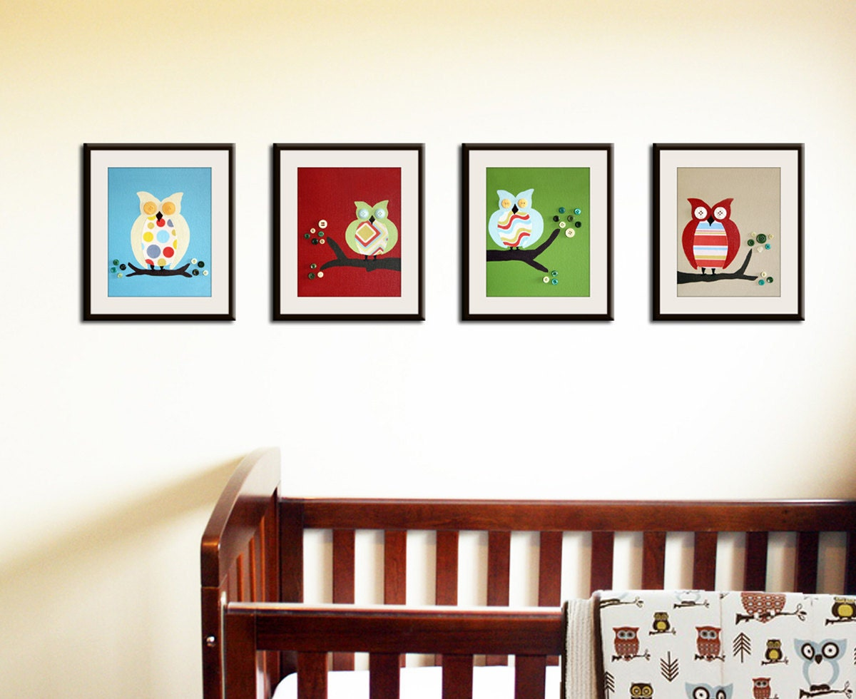 Owl Prints Nursery Art Owls For Boys And Girl Baby By Wallfry