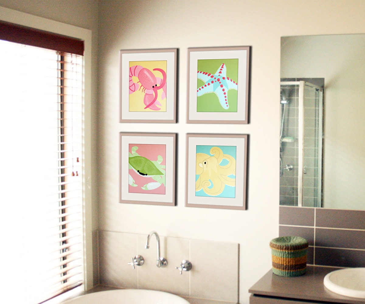 Bathroom art bathroom prints kids bathroom children art Bathroom blueprints for 8x10 space