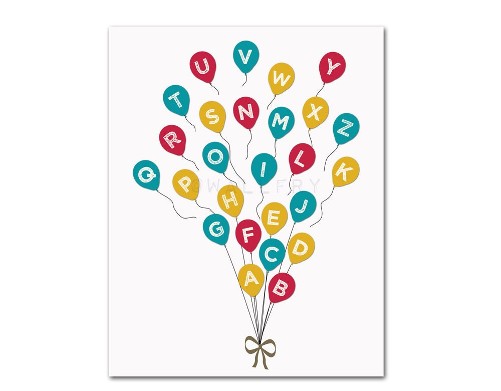 Balloon Alphabet Print. Balloons ABC Poster. Nursery Art