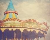 Carousel photo, merry go round,  carnival, fair, fairground, summer, vintage, circus, nursery art, retro home decor, 4x4 fine art print