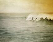 Surfing photo, surfers riding wave, summer, orange, green, yellow, retro, home decor  8x10 fine art print. Buy one get one free sale.