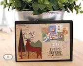 Vintage Europe postal stamp adhesive paper Stickers - 16 sheets set - Deer