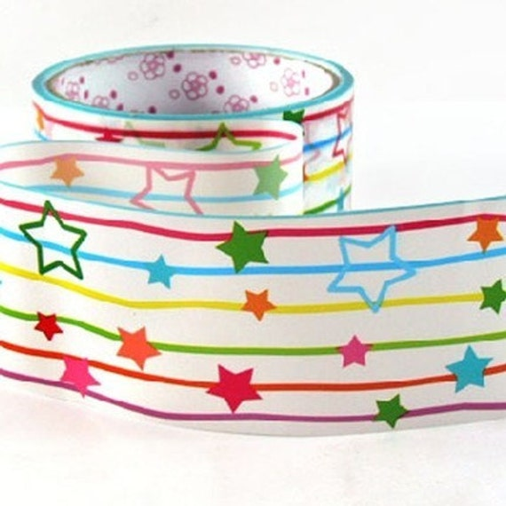 Colorful Stars and Stripes Deco Tape adhesive Stickers DTB67
