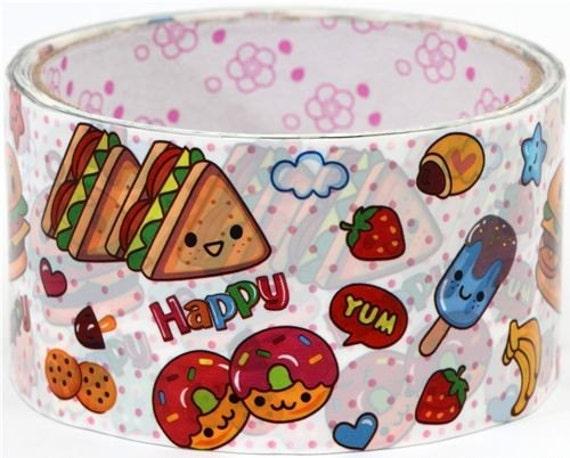 Kawaii Deco Tape adhesive Stickers - hamburger donuts faces DTB9
