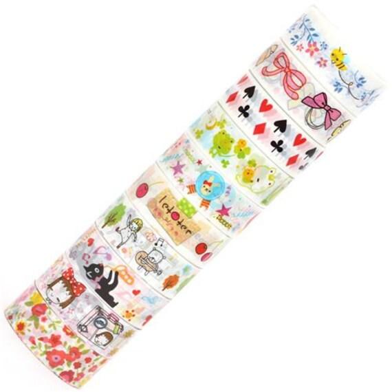 Adhesive Deco Mini Tape Stickers 10 ROLLS SET - I - bee, bow, alice in wonderland, frog, rabbit, girls