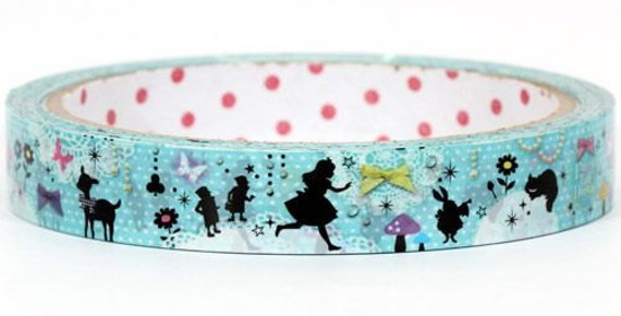 Kawaii Deco Tape Adhesive Stickers - Alice in Wonderland Blue Silhouette
