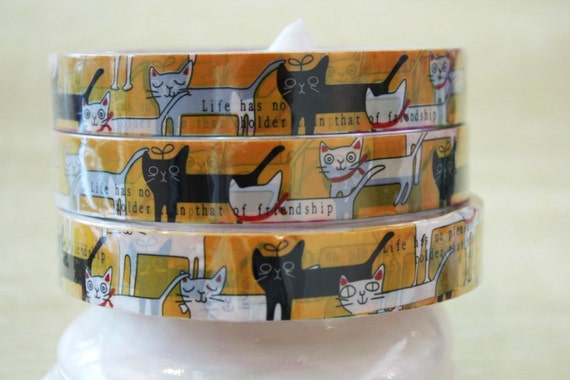 Kawaii deco tape adhesive stickers - Black and white cats DT206