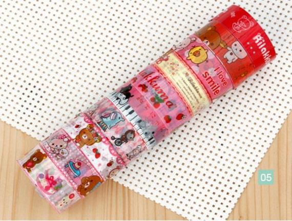 Mini Deco Tape Adhesive Stickers 10 ROLLS SET 05 Rilakkuma bear San-x