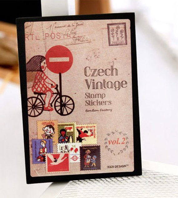 Vintage Czech postal stamp adhesive paper Stickers - 16 sheets set - girl on bicycle