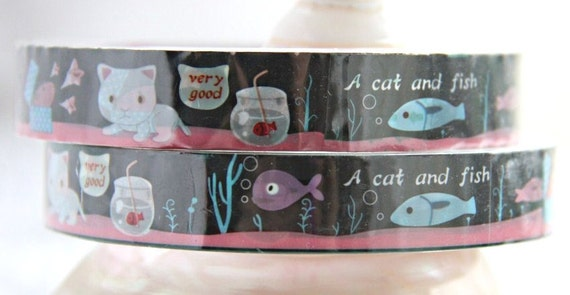 SALE 30% off Cat and Fish Deco Tape adhesive Stickers DT286