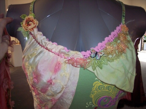 Upcycled Fairy top, flower petal, eco couture, hand dyed,  green, pink, peach - Pyxee Petals Fairy Garden blouse