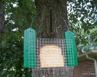 Bread or Toast Bird Feeder - Primitive Rustic Recycled Rough Cedar, Painted Green