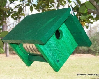 Wooden Birdhouse, Coffee Can Birdhouse, Primitive Rustic Bird House, Painted Recycled Weathered Rough Cedar, Painted Ivy Green Faux