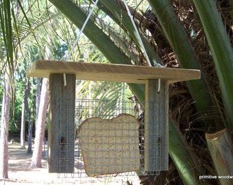 Bread or Toast Bird Feeder with Roof, Primitive Rustic Bird Feeder, Reclaimed Weathered Natural Wood Bird Feeder