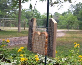 Bird Feeder, Bread or Toast Bird Feeder, Reclaimed, Recycled Natural Weathered Wood