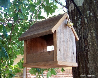 Wooden Bird Feeder, Recycled Wood, Natural Weathered Reclaimed Wood, Primitive Rustic Bird Feeder with Deco Chain