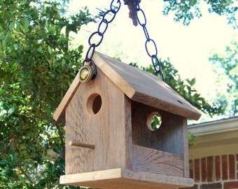 Wooden Bird House Bird Feeder, Reclaimed Wood, Natural Weathered Wood, Primitive Rustic Bird Feeder