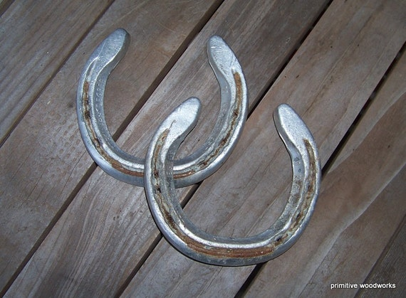 Old Lucky Horse Shoes Pair - Rustic Home, Western, Game Room, Man Cave Decor, Crafts - Aluminum