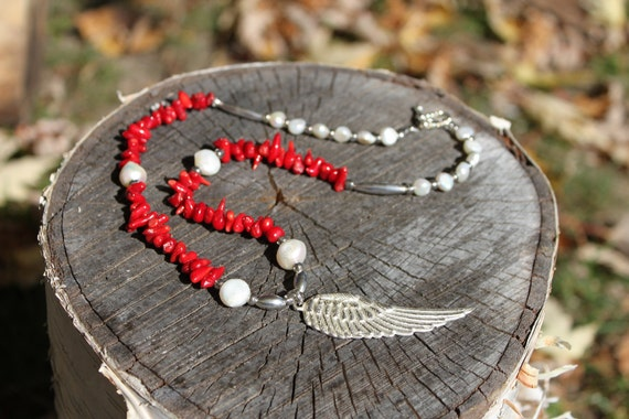 Red Coral and Fresh Water Pearl Necklace with Silver Wing Pendant and Silver Findings