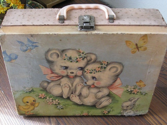 Pink 1950s Child's Wood Suitcase with Woodland Creatures Motif Vintage