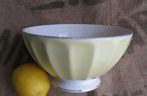 Two Vintage Yellow  French Cafe Au Lait Bowls France Sarreguemines