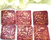 Abstract Flowers - 24 mm Etched Copper Square Drops/Charms - Sold As ONE PAIR - Fuchsia (Hot Pink)