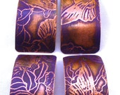 Monarchs & Vines - 19 x 34 mm Etched Copper Domed Drops/Charms - Sold As ONE PAIR - Bright Violet