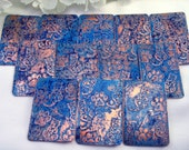 Art Deco Cats & Paws - 25 x 38 mm Etched Copper Rectangle Focal Drop/Charm/Link - UNDRILLED - Sold INDIVIDUALLY - Turquoise and Royal Blue