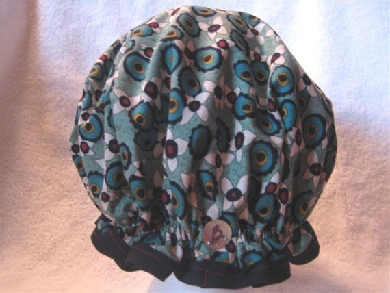 Waterproof Washable Women's Shower Cap - Peacock in a Koi Pond