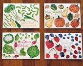 Seasonal Veggies and Fruit- 4 assorted greeting cards