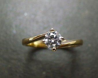 Solitaire Engagement Ring in 18K Yellow Gold (0.25ct, F/VS), Engagement Ring, Engagement Gift, Solitaire Ring, Diamond Ring, Diamond Band