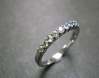 Diamond Wedding Ring with Peridot and Blue Topaz in 14K White Gold, Peridot Ring, Peridot Jewelry, Peridot Engagement Ring, Wedding Band