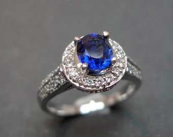 Blue Sapphire Diamond Engagement Ring In 18K White Gold