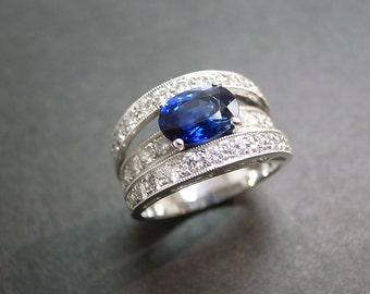 Natural Sapphire Wedding Diamond Ring In 14K Gold, Diamond Wedding Band, Blue Sapphire Ring, Diamond Ring, Blue Sapphire Engagement Ring