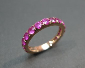 Pink Sapphire Wedding Band in 14K Rose Gold, Wedding Ring, Pink Sapphire Ring, Rose Gold Ring, Rose Gold Wedding Band, Rose Gold Jewelry