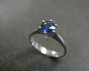 Blue Sapphire Engagement Ring in 14K White Gold, Blue Sapphire Ring, Solitaire Ring, Solitaire Engagement Ring, Classic Engagement Ring