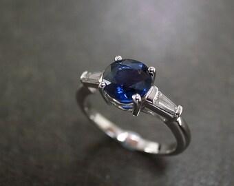 Blue Sapphire Diamond Engagement Ring in 14K White Gold