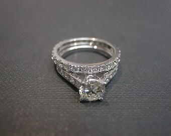 Wedding Ring Set, Wedding Band Set, Eternity Band, Diamond Engagement Ring, Diamond Wedding Band, Solitaire Ring, Solitaire Engagement Ring