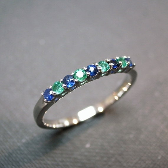 Blue Sapphire and Emerald Wedding Ring in 14 White Gold