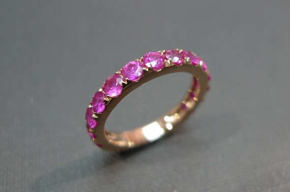 Pink Sapphire Wedding Band In 14K Rose Gold Ring
