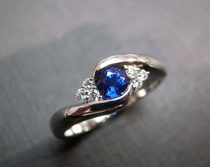Blue Sapphire Rings, Diamond Rings, Engagement Rings, Wedding Band, Gemstone Rings, Women Jewelry, Personalized Jewelry, 14K White Gold