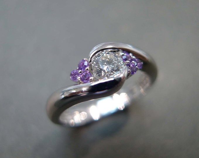 0.25ct Diamond and Amethyst Engagement Ring
