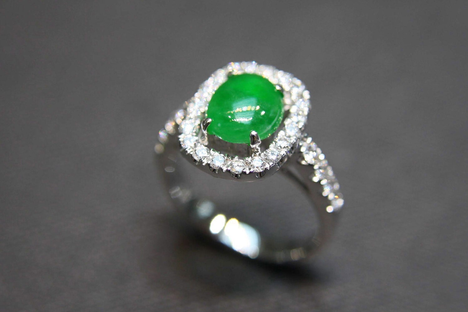 Custom made jade diamond wedding ring in 18k white gold for Jade wedding ring